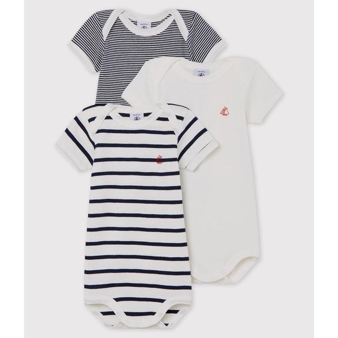 BABIES' STRIPY SHORT-SLEEVED ORGANIC COTTON BODYSUITS - 3-PACK