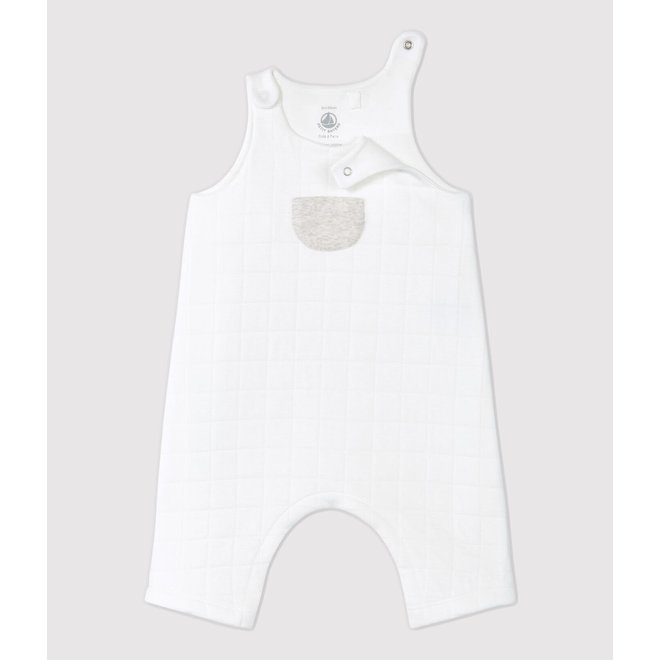 BABIES' QUILTED ORGANIC COTTON QUILTED DUNGAREES MARSHMALLOW WHITE