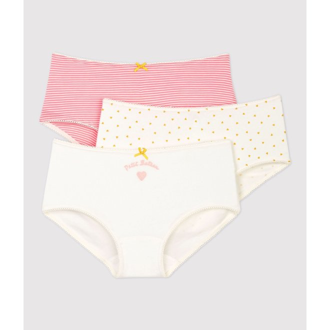 GIRLS' HEART PRINT COTTON HIPSTERS - 3-PACK