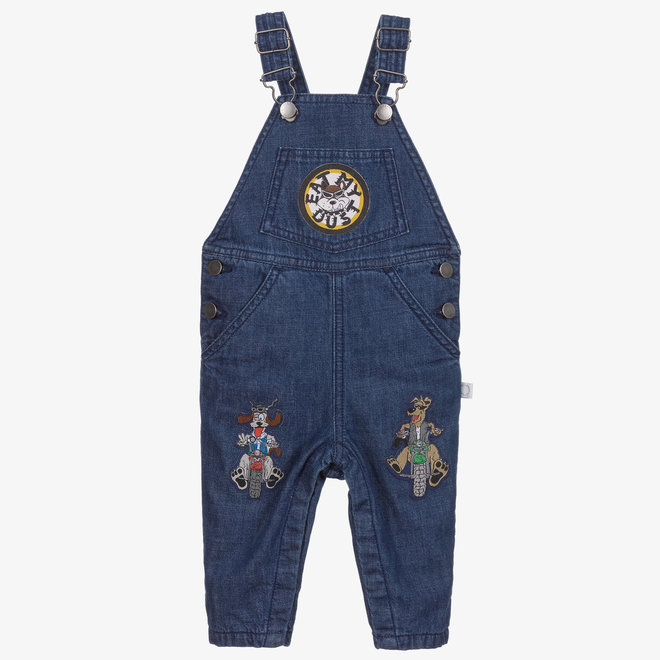 BABY BOY DENIM OVERALL WITH BADGES