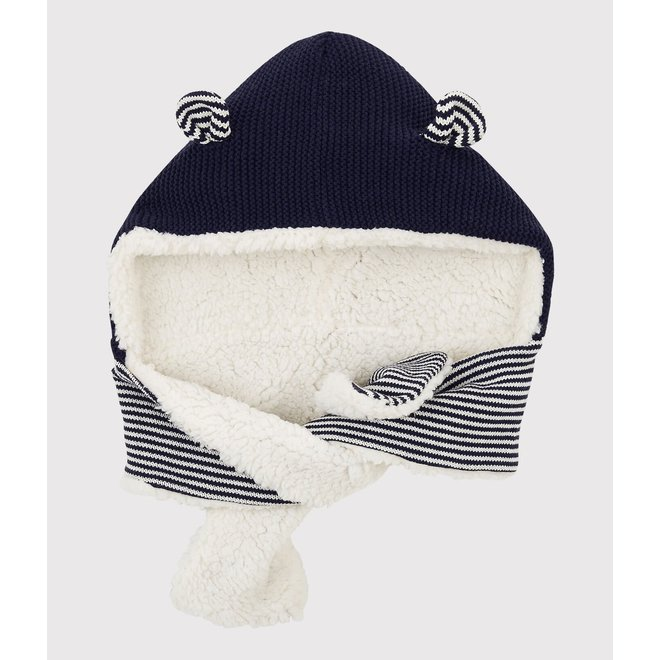 BABIES' KNITTED HAT SCARF SMOKING blue/MARSHMALLOW white