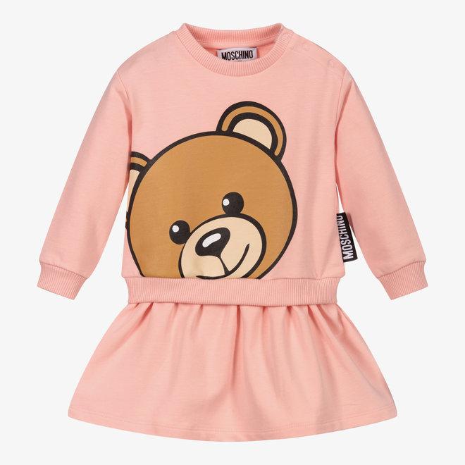 BABY GIRL LS DRESS W LRG BEAR HEAD PINK
