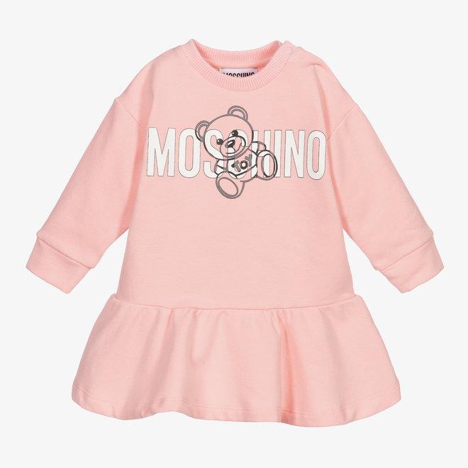 BABY GIRL LS DROP WAIST DRESS W TOY TXT LOGO PINK