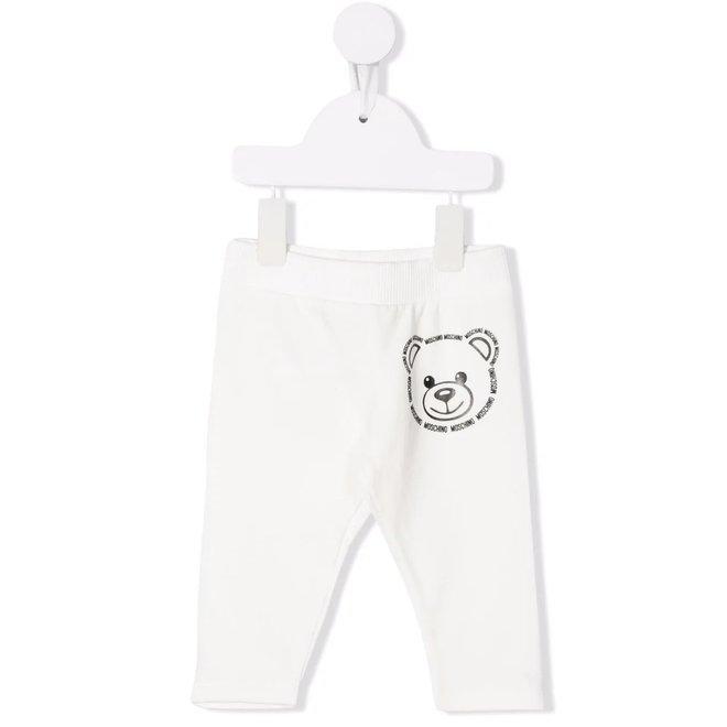 BABY PANTS W TXT BEAR HEAD PRNT WHITE