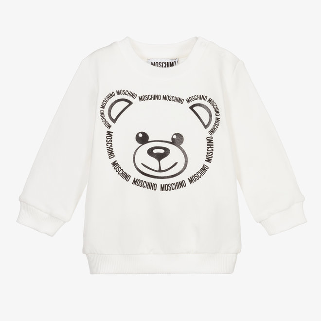 BABY SWEATSHIRT W TXT LOGO BEAR FACE WHITE