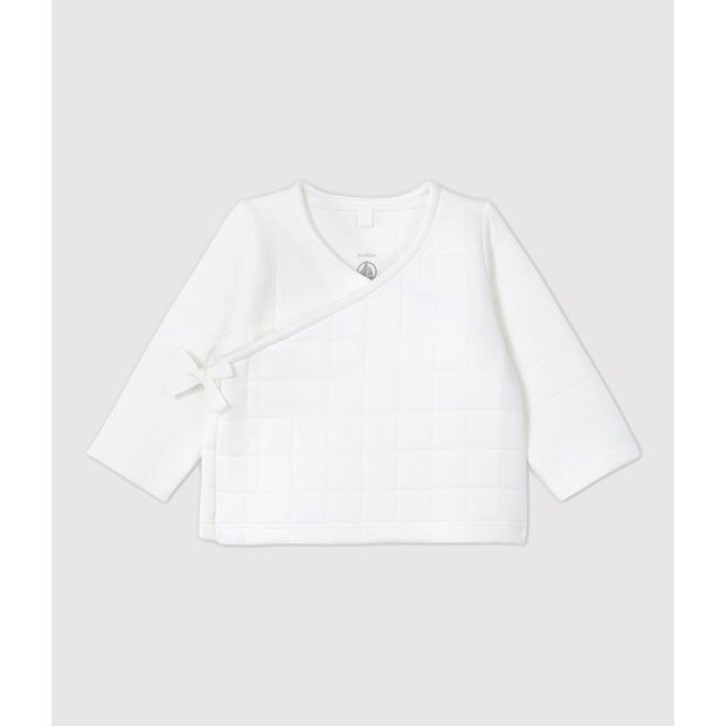 BABIES' ORGANIC COTTON QUILTED CARDIGAN MARSHMALLOW white