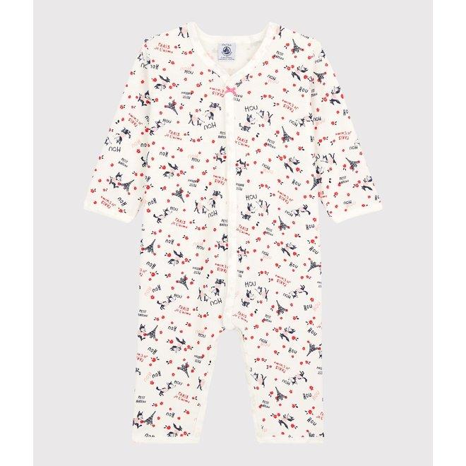 BABIES' PARIS ORGANIC COTTON SLEEPSUIT MARSHMALLOW white/MULTICO white