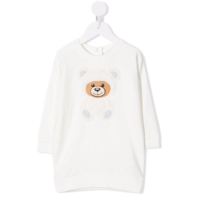 BABY GIRL DRESS W 3D SOFT BEAR PATCH AND TXT LOGO CLOUD