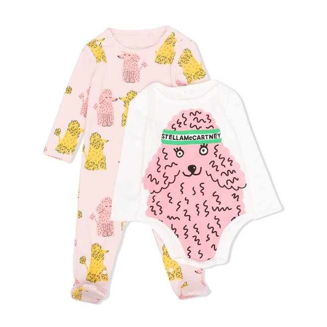 BABY GIRL POODLE BODYSUIT AND ROMPER SET
