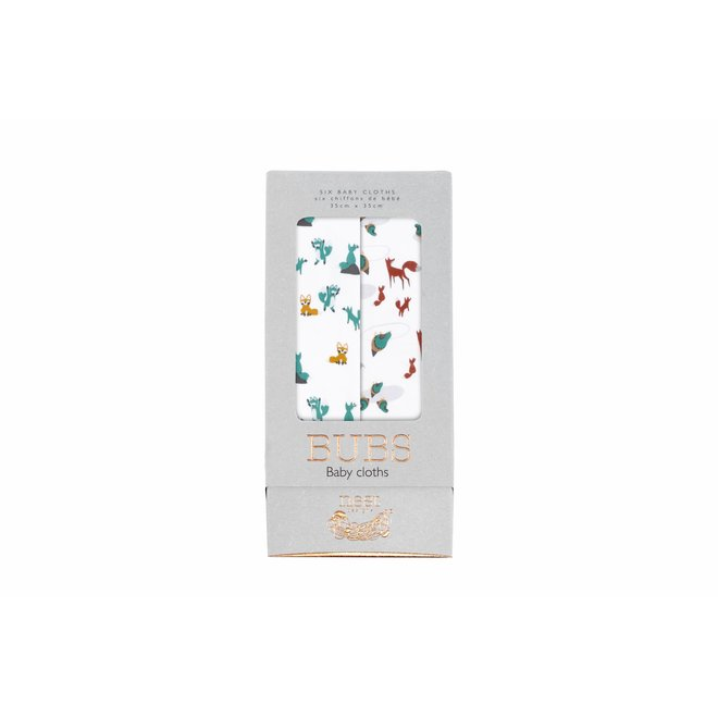 Bamboo Bubs Baby Washcloth Set (6 Pack) - Foxes