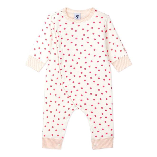BABIES' FOOTLESS PADDED COTTON JUMPSUIT MARSHMALLOW white/PETAL pink