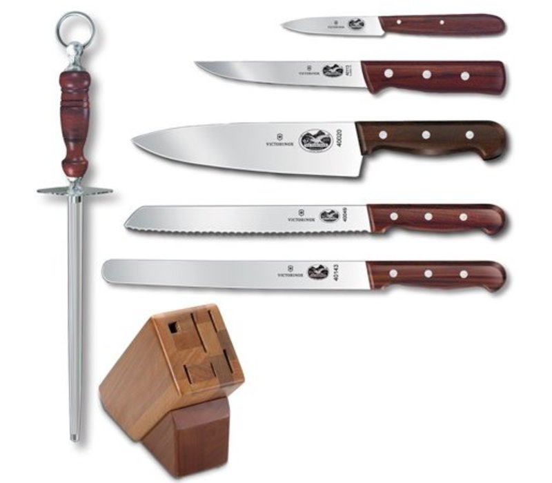 46054 - Victorinox Cutlery 7 Piece Block Set - Rosewood Handles - Hardwood 802