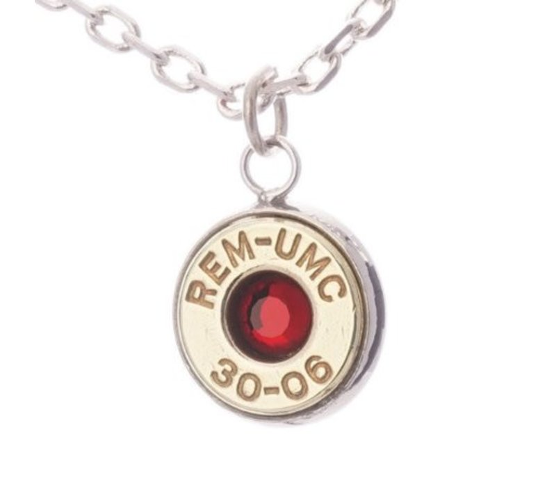 LSP-3006R--Lucky Shot - Real Bullet Pendant - Ruby - (30.06)
