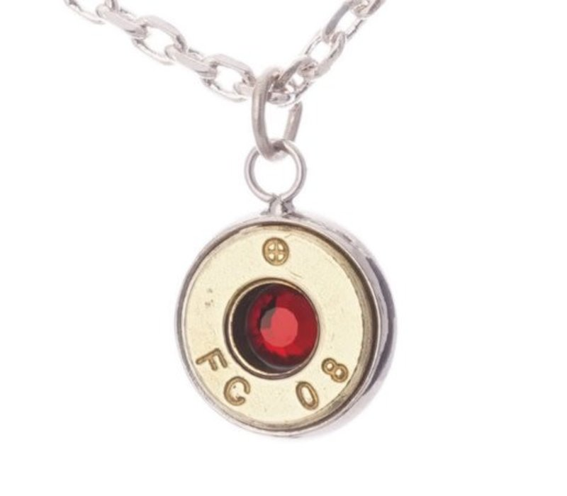 LSP-308R--Lucky Shot - Real Bullet Pendant - Ruby (.308)
