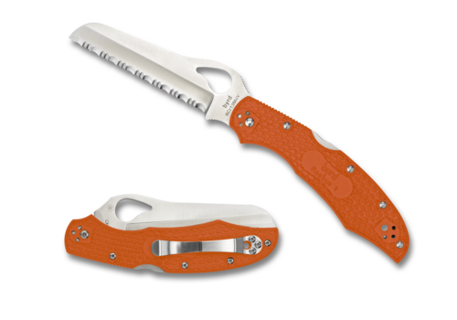 Byrd Knives BY17SOR2--Spyderco, Byrd Cara Cara 2 Rescue w/ Orange FRN Handle and 8Cr13MoV Stainless Serrated Blade