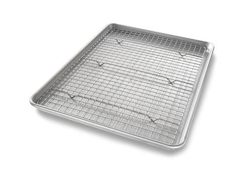 USA Pan 1606CR--USA PAN, Half Sheet Pan & Baking Rack Set P-17 1/4 x 12 1/4 x 1 R- 16 3/4 x 11 1/2 x 1/2
