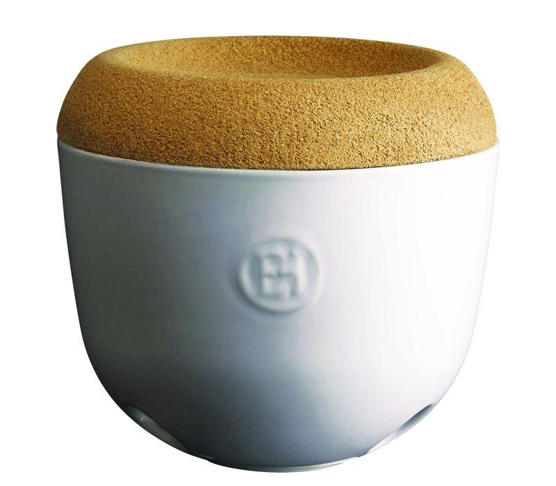 108763--Emile Henry, Garlic Pot (Creme)