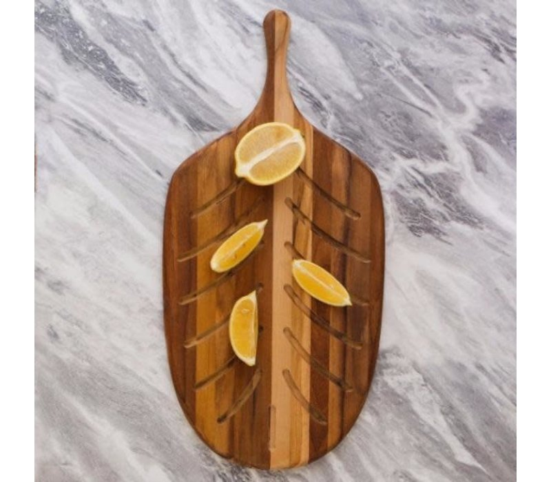701--TeakHaus, Canoe Collection - Paddle - Small Paddle Bread Board - 19x9.5x0.5
