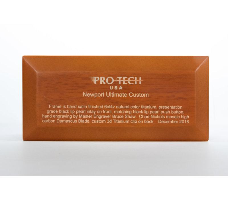 UNCPro--Pro-Tech, Ultimate Newport Custom, Black Lip Pearl Inlay and Damascus