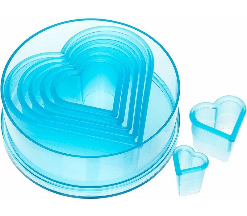 5751--Ateco, 7 pc Plain Heart Cutter Set