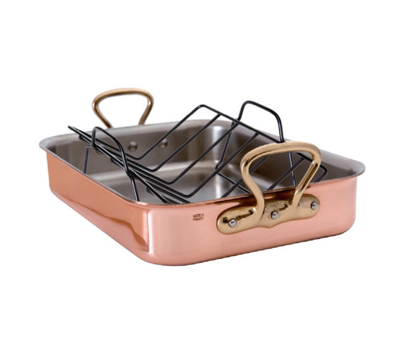"6719.40--Mauviel, M'250c Rectangular roasting pan w/ Rack and Bronze Handles, 9.5qt and 15.7""x12""x3.3"""