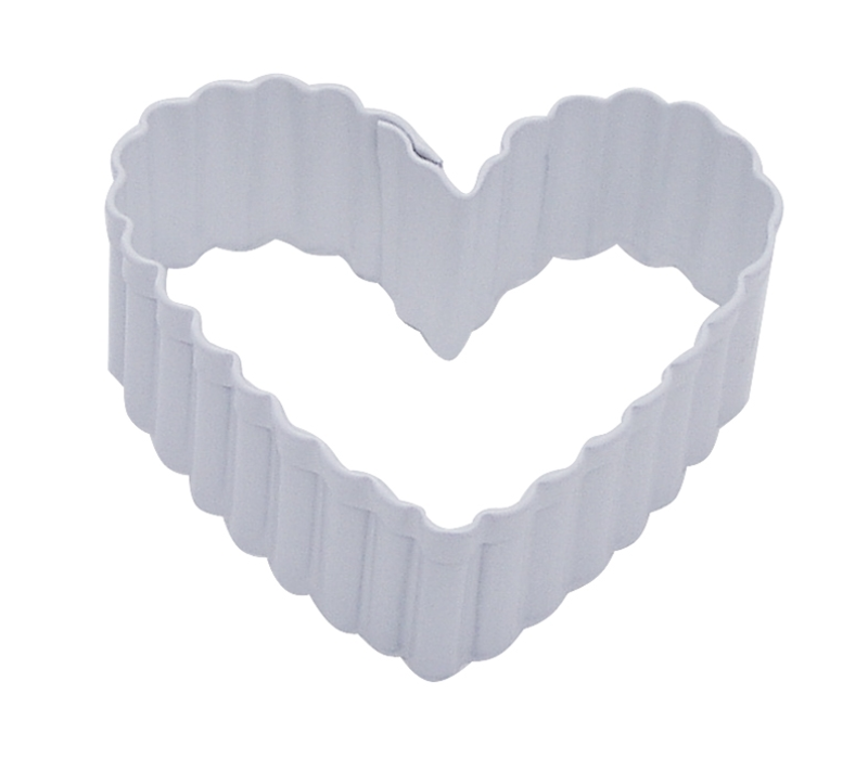 """1144/WS--R&M, Fluted Heart 2.5"""" White (single)"""