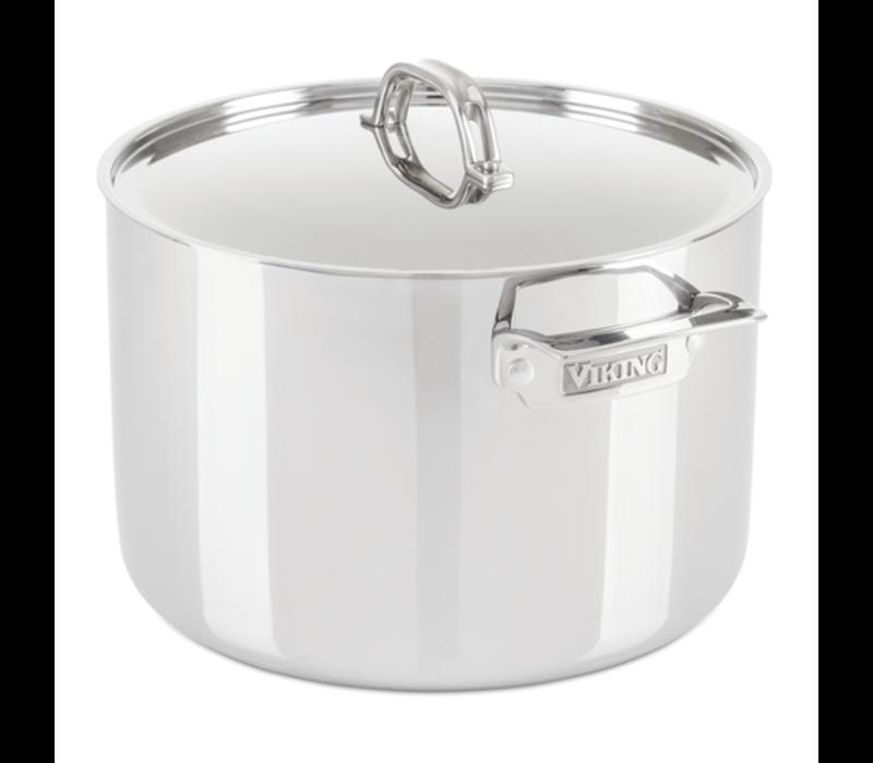 40011-0432--Viking, 3-Ply 12 Qt. Stock Pot w/ Metal, Stainless Steel Mirror