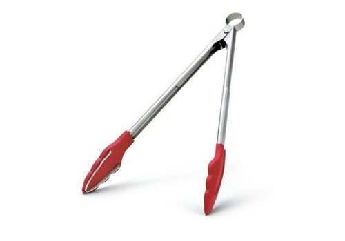 """Cuisipro 74717805--Browne, Cuisipro ,Silicone Tongs, 12"""" w/Teeth, Red"""