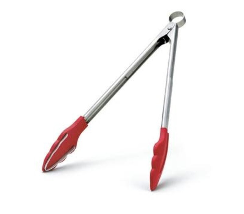 """74717805--Browne, Cuisipro ,Silicone Tongs, 12"""" w/Teeth, Red"""