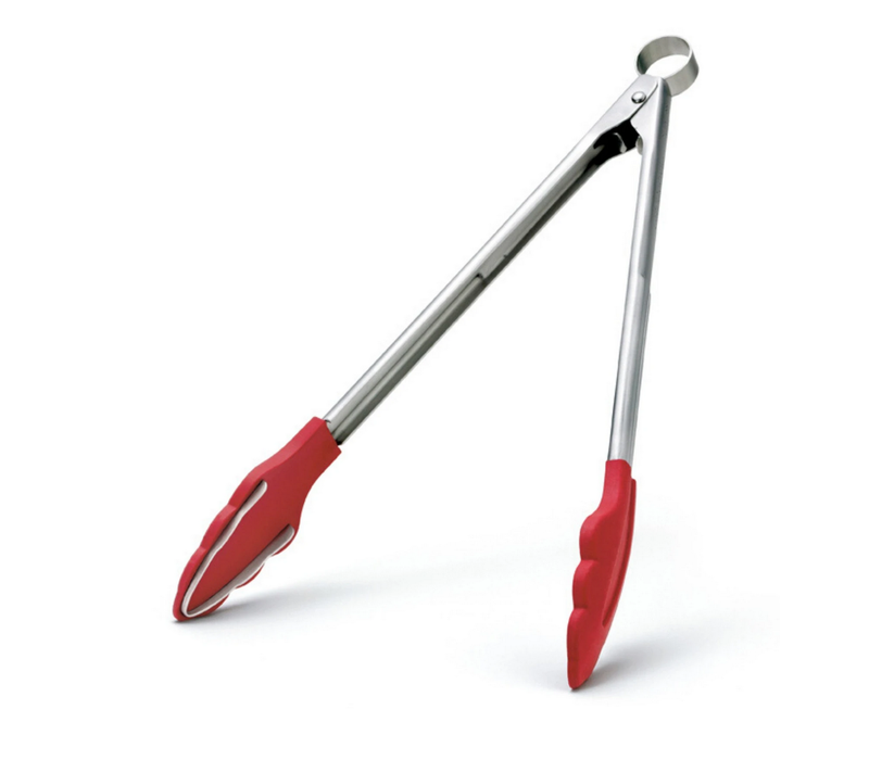 """74717705--Browne, Cuisipro Tongs 9.5"""", Red Silicone"""