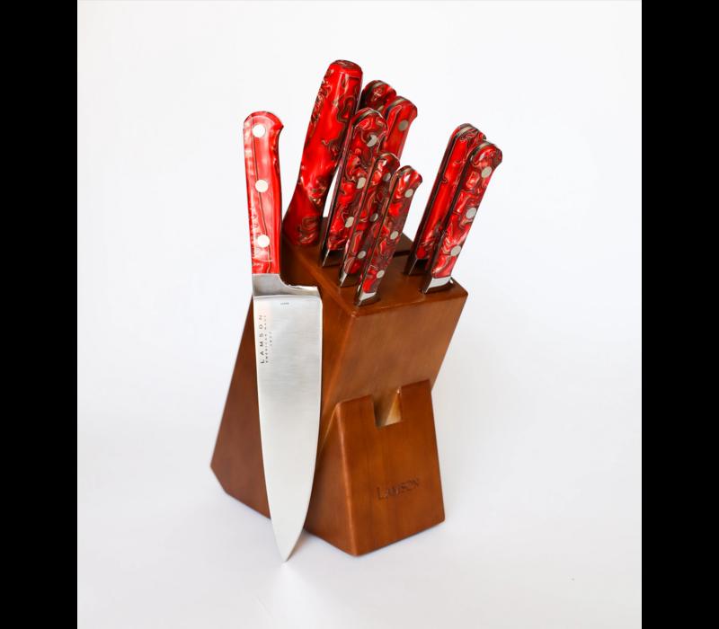 59902--Lamson, FIRE Series, Forged 10pc Block w/ Walnut Block
