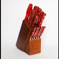 59903--Lamson, FIRE Series Forged 16pc Block Set w/ Walnut Block #323