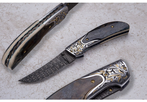 """(CONSIGNMENT) 121419.1--JohnnyStout, The """"Compadre"""", Mammoth Ivory Handle W/ Damascus Blade"""