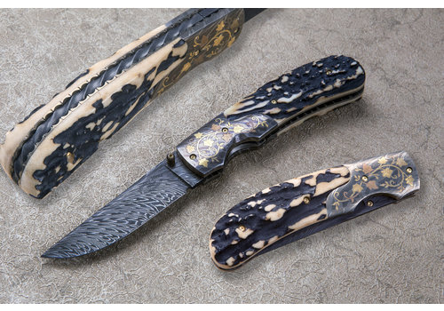 """(CONSIGNMENT) 121419.2--JohnnyStout, """"The Zenith"""", Sambar Stag Handle, Damascus Blade"""