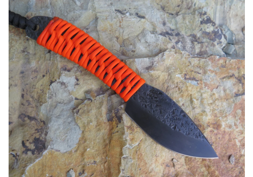 Behring Made BEH150--Behring Made, Pro LT Nessmuk w/ 01 tool steel, Gun Blued Cerakote Finish and Blaze Orange Marine Epoxy Coated Paracord Wrapped Handle