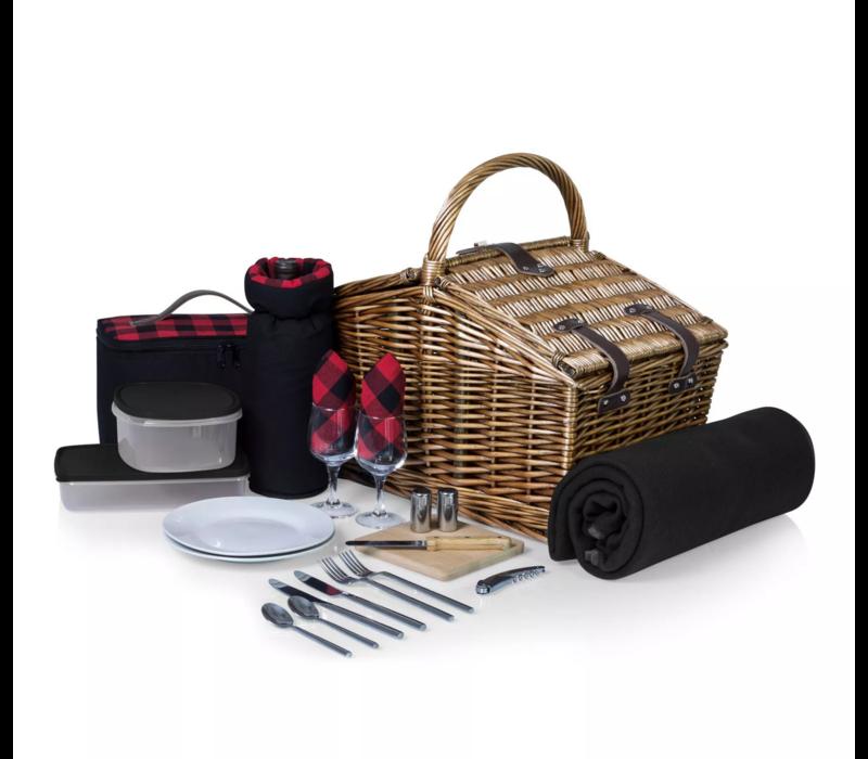 213-87-406-000-0--PicnicTime, Somerset Picnic Basket, (Red & Black Buffalo Plaid Pattern)
