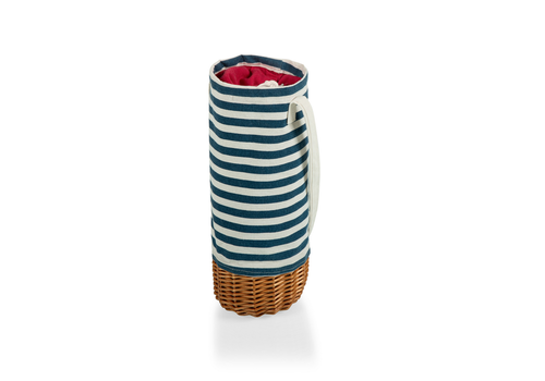 Picnic Time 201-00-211-000-0--PicnicTime, Malbec Insulated Canvas & Willow Wine Bottle Basket, (Blue & White Stripe)