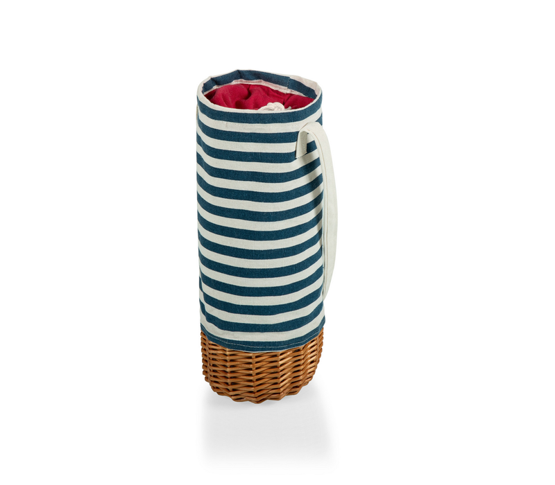 201-00-211-000-0--PicnicTime, Malbec Insulated Canvas & Willow Wine Bottle Basket, (Blue & White Stripe)