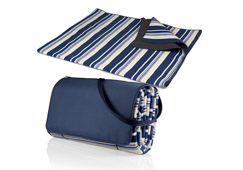 Picnic Time 920-00-107-000-0--PicnicTime, Blanket Tote XL Outdoor Picnic Blanket, (Blue Stripe Pattern with Navy Flap)