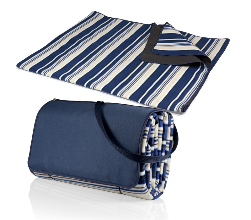 920-00-107-000-0--PicnicTime, Blanket Tote XL Outdoor Picnic Blanket, (Blue Stripe Pattern with Navy Flap)