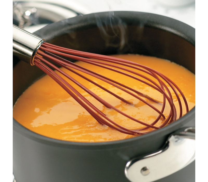 """74695205--Browne, Cuisipro Balloon Whisk SS 12"""" w/ Non-Stick Red Coating"""