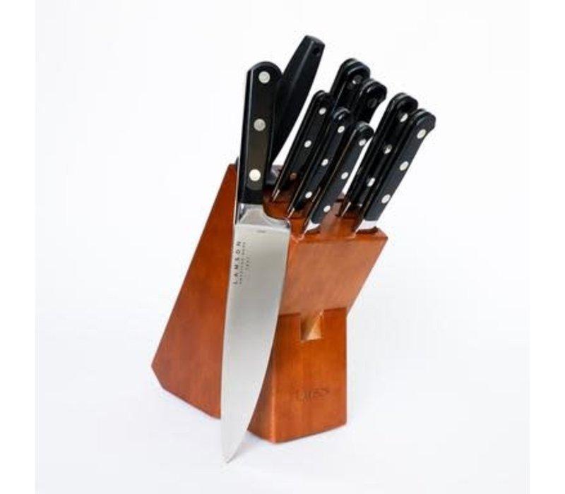 39202--Lamson, MIDNIGHT Forged 10-Pc Knife Block Set, Walnut Block