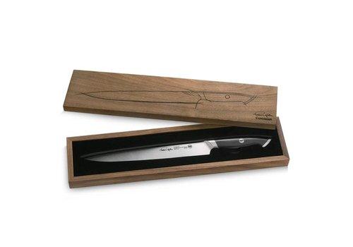 """Cangshan 1023831--Cangshan, TKSC Series 1023831 Swedish Damasteel RWL34 Powder Steel Forged 10.5"""" Carving Knife w/ Walnut Box"""