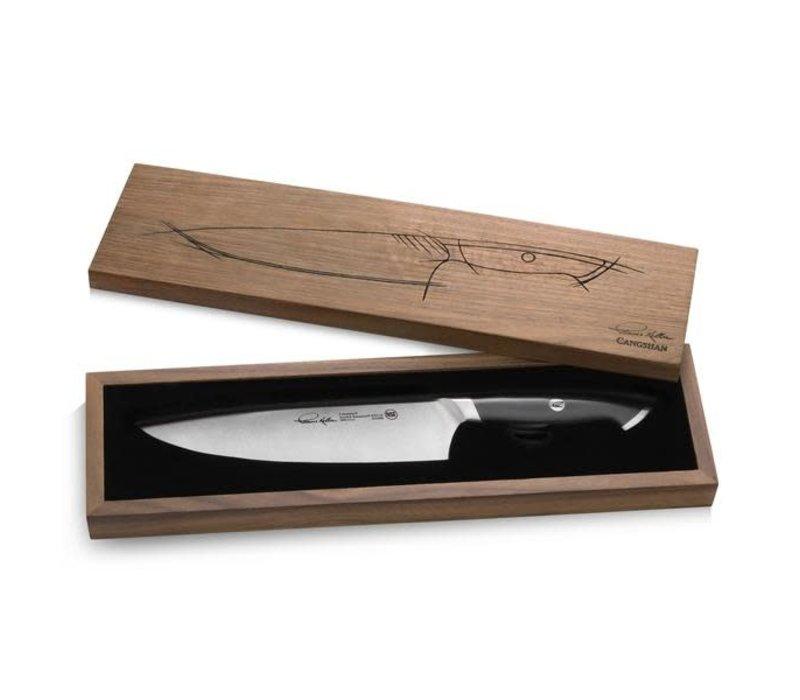 """1023800--Cangshan, TKSC Series 1023800 Swedish Damasteel RWL34 Powder Steel Forged 8"""" Chef Knife w/ Walnut Box"""