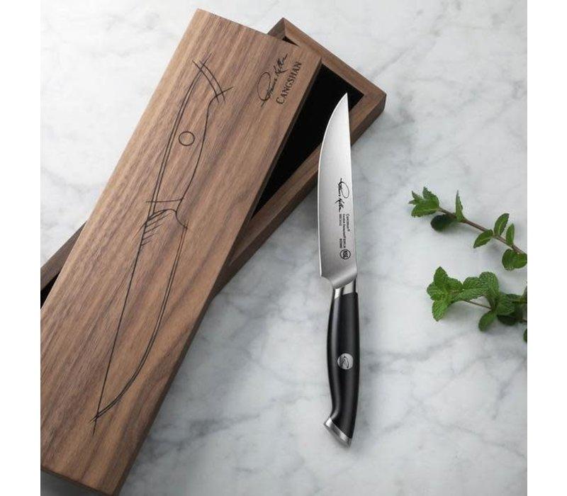 "1023886--Cangshan, TKSC Series 1023886 Swedish Damasteel RWL34 Powder Steel Forged 5"" Fine Edge Steak Knife w/ Walnut Box"