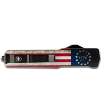 MA-BRF-12-1--Templarknives, Slim Aluminum Betsy Ross Flag Dagger Black D2