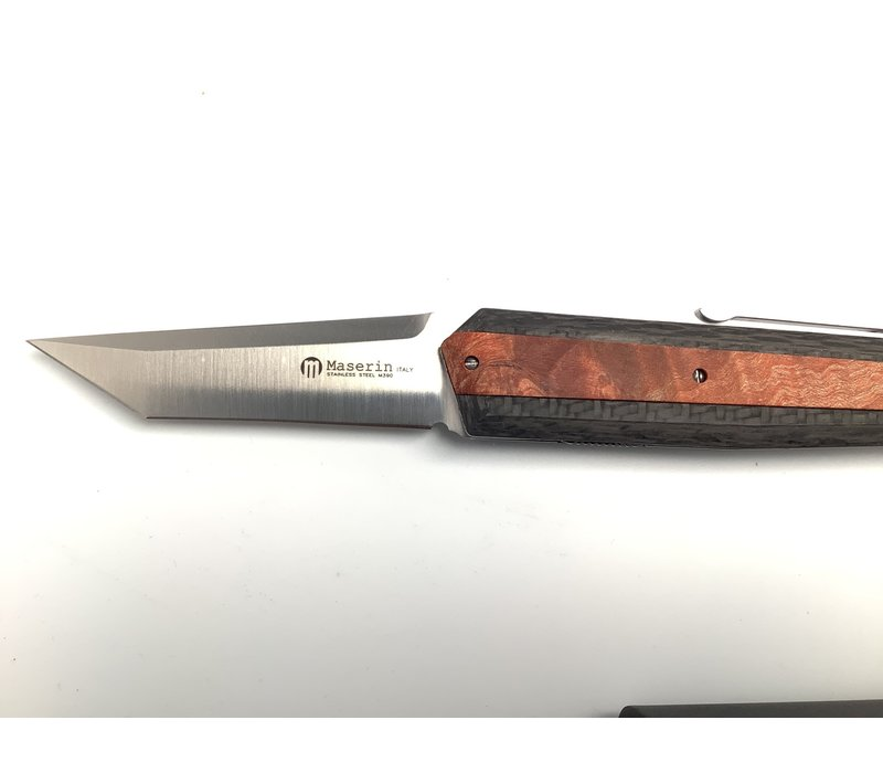 376/RA--Maserin, AM4 Knife M390 cm.22 Carb/Wood Handle