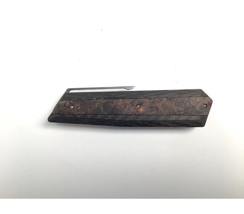 376/RN--Maserin, AM4 Knife M390 cm.22 Carb/Black Wooden Handle