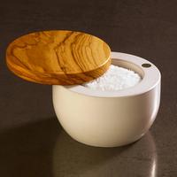 BER41170--Browne, Berard Round Salt Keeper Millenari White 10x7cm