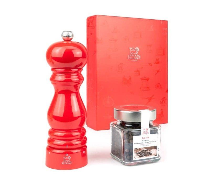 35792--Peugeot, Giftset Paris U-Select 18CM Red + Tan Hoi Pepper Jar 70G